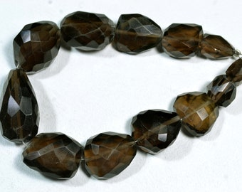 8 Inches Strand Natural Smoky Quartz Nuggets Beads 9x12mm to 14x27mm Natural Beads Faceted Gemstone Smoky Briolettes Semi Precious No421