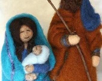 Needle Felted Nativity Scene Set/Waldorf Nativity Set/Kids Nativity Set/Children's Nativity Set/Nativity Set for Sale/Christmas Nativity Set