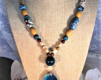 Boho Agate Pendant Necklace