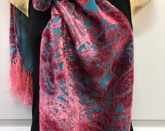 Silk Velvet Scarf, Hand Dyed, Pink over Blue