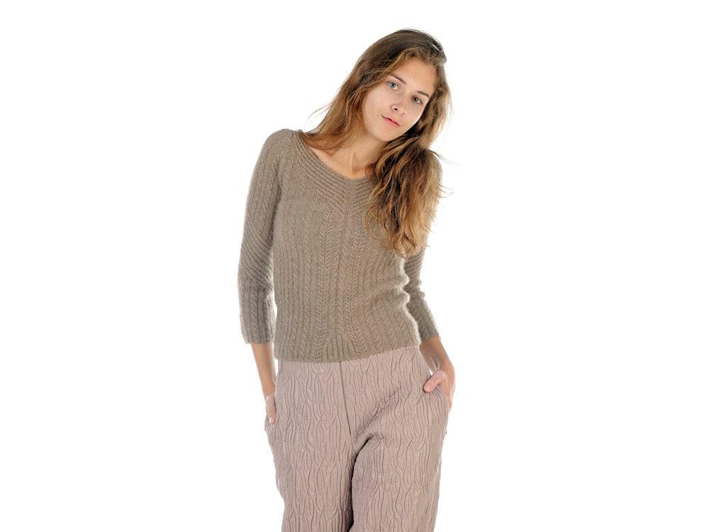 Mujer punto suéter Beige con cuello en v Jersey Jumper clásico
