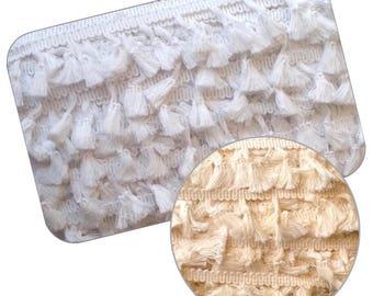 Rustic Cotton Tassel Fringe Trimming 1mt - 25yd card White or Cream