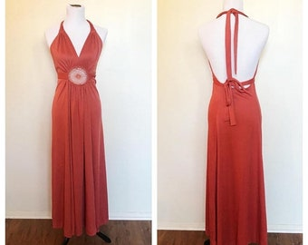 SHOP SALE Vintage 70s Salmon Rust Crochet Halter Empire Maxi Dress