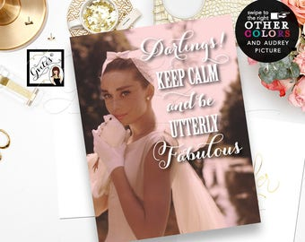 Custom Audrey Hepburn Poster Signs, Bridal Decor, Entrance Signs, Keep Calm signs, quotes, bridal shower, wall art, digital file, PRINTABLE.