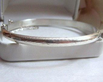 Restored Sterling Bracelet Bangle Authentic Vintage Textured Etched Floral Design Detail Slide Closure