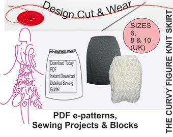 Knit / Stretch Skirt Pattern- Instant Download- suitable for beginner- Size 6, 8 & 10 -Fully Illustrated Instructions