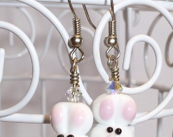Handmade 'White Bunny Rabbit' Lampwork Earrings with Silver Tone French Wires and Swarovski Crystals