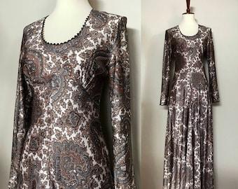 1960s Boho Maxi Dress / Long Sleeve / Paisley / Small / XS