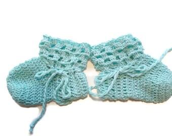 """Baby Booties Aqua Baby Shoes Crochet Booties 3 and half """" Newborn Shoes OOAK Booties Reborn Baby Doll"""