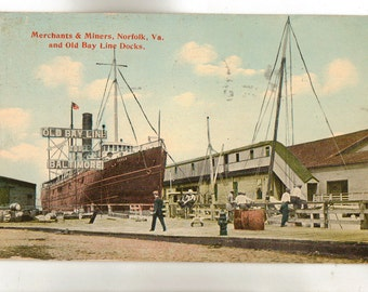 Vintage Postcard, Norfolk, Virginia, Old Bay Line and Merchants and Miners, 1915