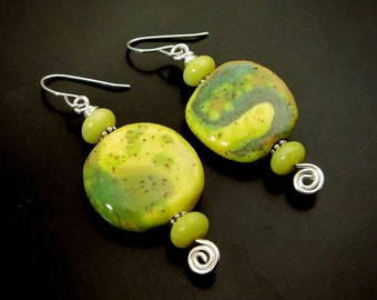 MIXED EMOTIONS ~ African Kazuri Clay Beads, Yellow Jade Sterling  Earrings