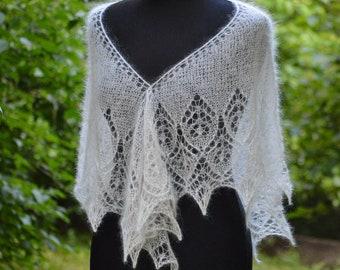 ivory shawl, Lace shawl, wedding shawl, silky shawl, white handknit shawl