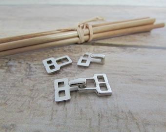 3 Brandenburg metal clip, attach to sewing - 22 x 10 mm - silver 67.3