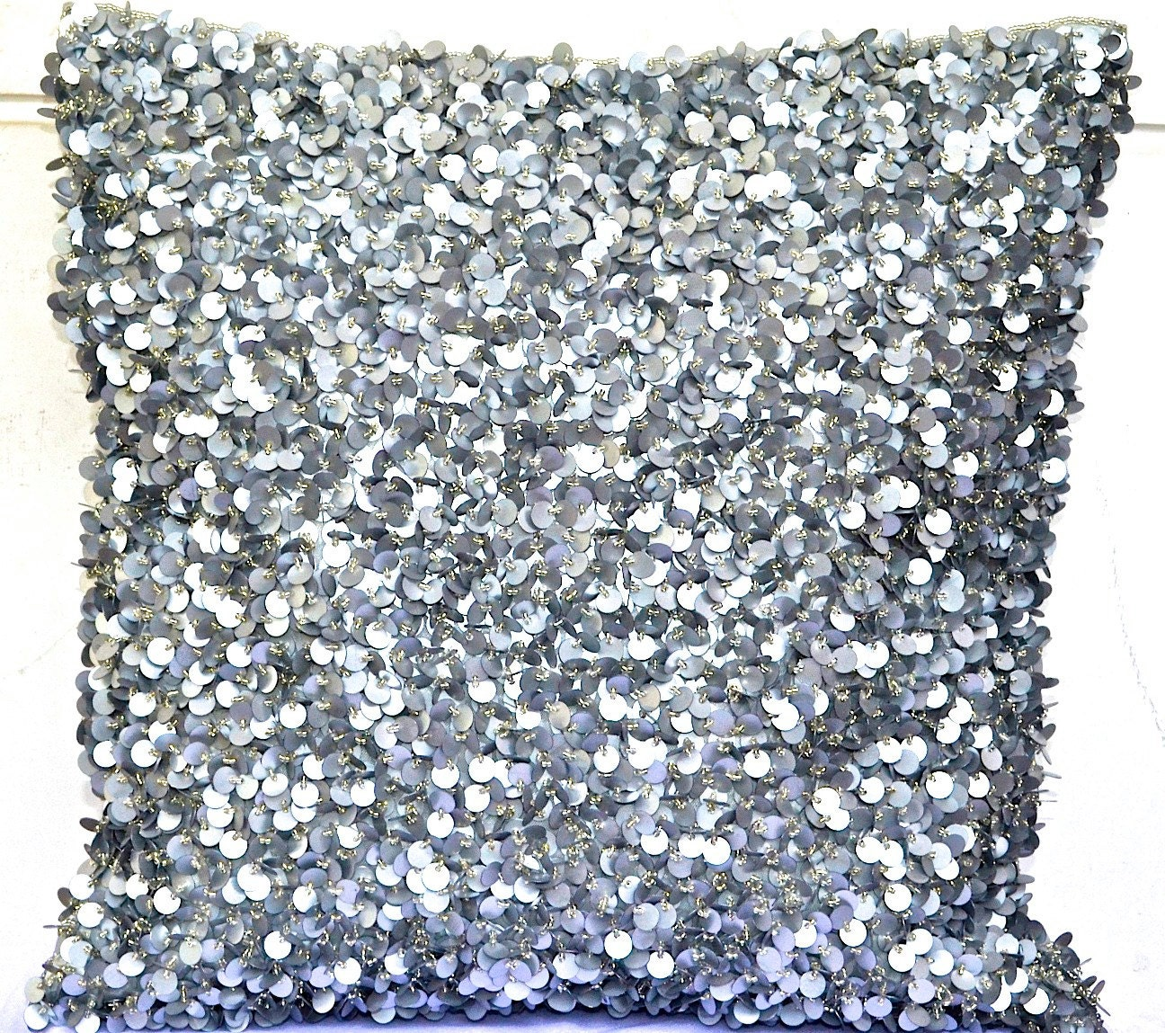 Sequin Throw Pillow Silver Throw Pillow Glitter Pillow Shimmer