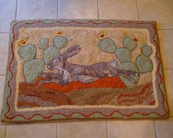 Desert Jack Rabbit and cactus rug hooking pattern