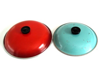 """Club Aluminum Cookware Lids for 12"""" Poppy Red Orange Skillet, or 10"""" Turquoise Dutch Oven Pot Pan"""