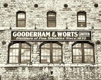 "Toronto urban brick building industrial for him vintage decor architectural photograph - ""Gooderham"" 8 x 10"