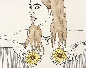 Flower Girl Line Drawing