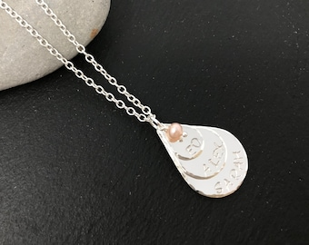 Personalised sterling silver teardrop necklace - mother and children necklace - monogram silver necklace
