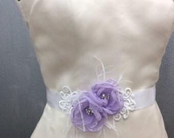 Bridal Lavender Chiffon Flower White Sash Belt