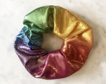 Rainbow scrunchie/rainbow hair tie/ colourful scrunchies/rainbow scunchie/ pony tail holder/rainbow headband/rainbow scrunchie