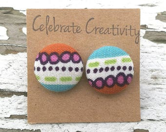 """Fabric Button Post Stud Earrings - Bright Pink, Blue, Green, Orange, White Fun Stripes and Dots - 5/8"""""""