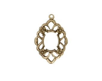 Floral Filigree Settings for 10x8mm Flat Back Stones and Cabochons - Antiqued Brass Ox with Prongs - Nickel Free Made in the USA with Loop