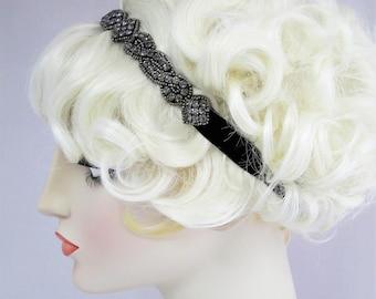 Cabaret Rhinestone Headband Gunmetal Rhinestones, 1920s fashion, Flapper Headband, Stretch Headband,