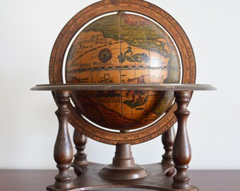 Desk Top World Globe / Italian  / Vintage Brown Globe / Old World / Office Decor /  Zodiac / Geography / Library Decor