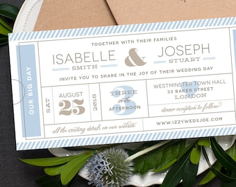 Ticket Wedding Invitation / 'Typography Ticket' Admission Ticket Wedding Invite / Pale French Blue Grey Silver / Custom Colours / ONE SAMPLE