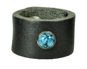 "Leatherring ""stone rivet"""