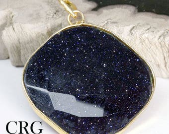 Gold Plated Faceted Square Blue Goldstone Pendant (FC23DG)