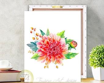 Chrysanthemum, Chrysanthemum Print, Flower Wall Art, Botanical Art Prints, Flower Art Print, Home Decor Wall Art, Garden Art Print, Canvas