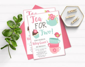 Tea for Two Invitation, Tea Party Invitation, 2nd Birthday Invitation, Tea for 2, Tea for Two Birthday, Digital, Printable Invitation