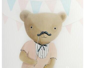 Teddy bear illustration - Print - Nursery art - Nursery decor, Kids room decor, Children's art, Children's wall art, kids wall art funny art