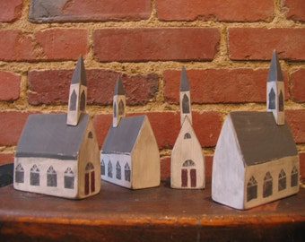 Folk Art  Primitive American Wooden Country Church.