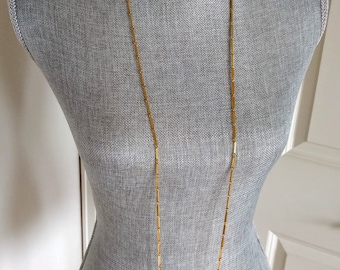 LAST CHANCE Vintage Long Necklace, Multi-Way, Bar Chain, Textured and Satin Goldtone Links, Sixties Costume, Original Box, Ca. 1960s