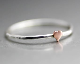 Tiny Heart Ring,  Sweet Petite Heart Ring, Copper Heart Ring, Sterling Silver Stack Ring, Heart Midi Ring, Silver Midi Ring, Love Ring