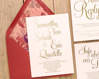 Foil Stamping - Red, Gold and Grey Watercolor Floral Wedding Invitations - SAMPLE (BAILEY)