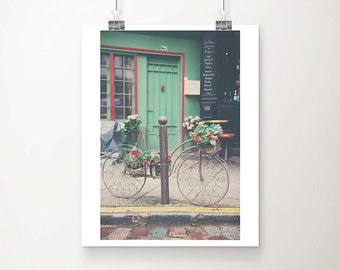 vintage bicycle photograph, Paris photography, green door photograph, Paris decor, Paris street, Paris left bank, French decor