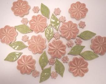 Pink Mosaic Flower Tiles-1.50 each