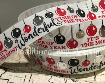 "7/8"" Christmas Balls Metallic silver grey It's the Most Wonderful Time of the Year Grosgrain Ribbon"