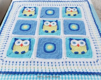 CROCHET BABY BLANKET Pattern  - Kerry's Owl Blanket - Crochet Owl Blanket Pattern, Owl Blanket Crochet Pattern Crocheted Owl Blanket Pattern