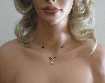 Gemstone Necklace,blue sapphire necklace, silver necklace, sapphire necklace, gemstone jewelry, Lemon Quartz necklace, necklace, jewelry