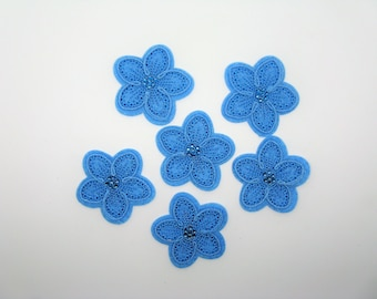 Set of 6 applications hot-melt blue embroidered flower in the Center rhinestones - ref 6K
