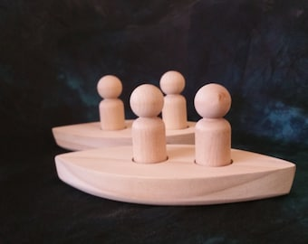 2 man canoes with 2 peg dolls each - choose 1 or 2 - 005