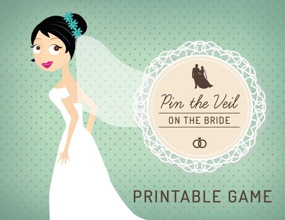 Bridal shower game pin the veil on the bride printable stopboris Gallery