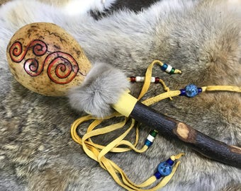 Gourd Rattle Spiral Goddess - handmade- wood leather- native primitive natural music