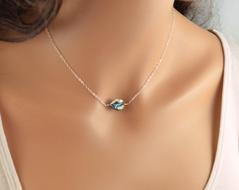 Abalone Choker Necklace, Sterling Silver or Gold Jewelry, Paua Shell, Simple Necklace, Beach Jewelry, Gift for Women, Free Shipping