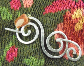 Shawl Pin/Brooch/Clip/Slide Silver Double Spiral with Fire Agate